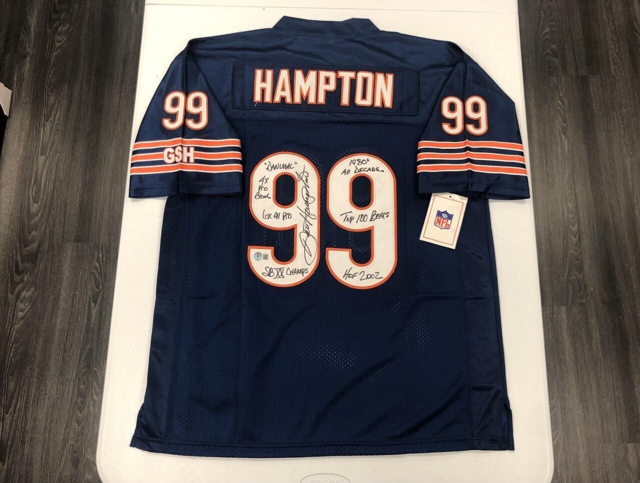 Dan Hampton Signed Navy Jersey