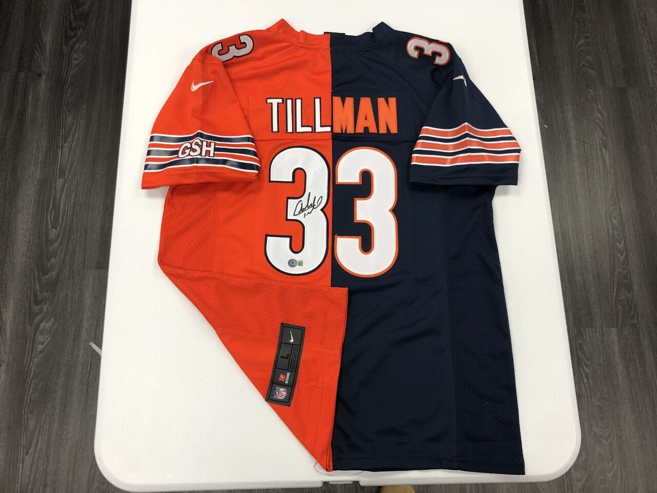 Charles Tillman Signed Orange/Navy Split Jersey