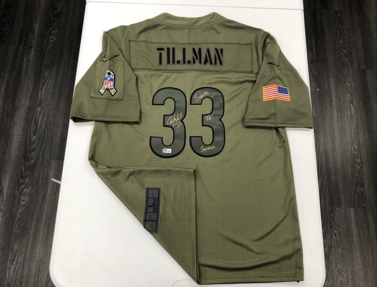 Charles Tillman Signed Salute to Service Jersey (Gold Ink)