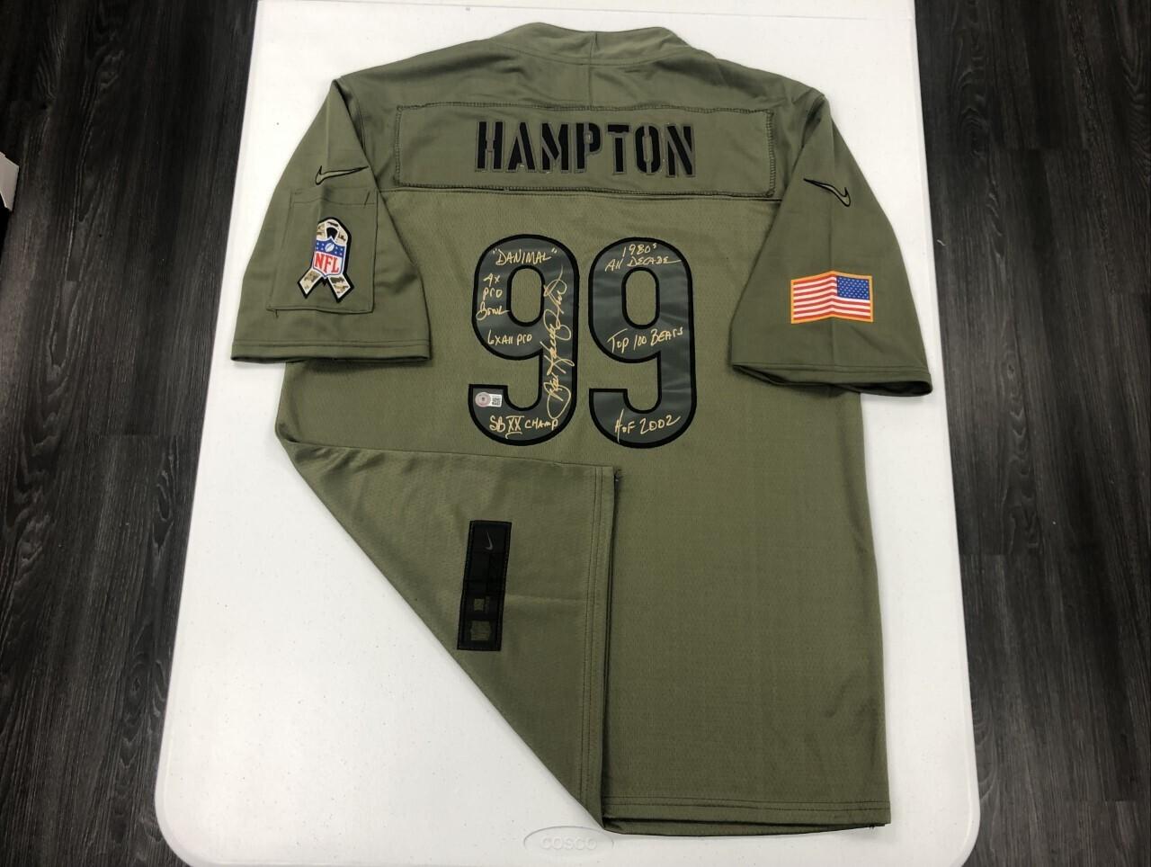 Dan Hampton Signed Salute to Service jersey (Gold Ink)