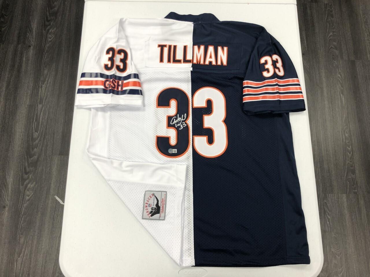 Charles Tillman Signed White/Navy Split Jersey