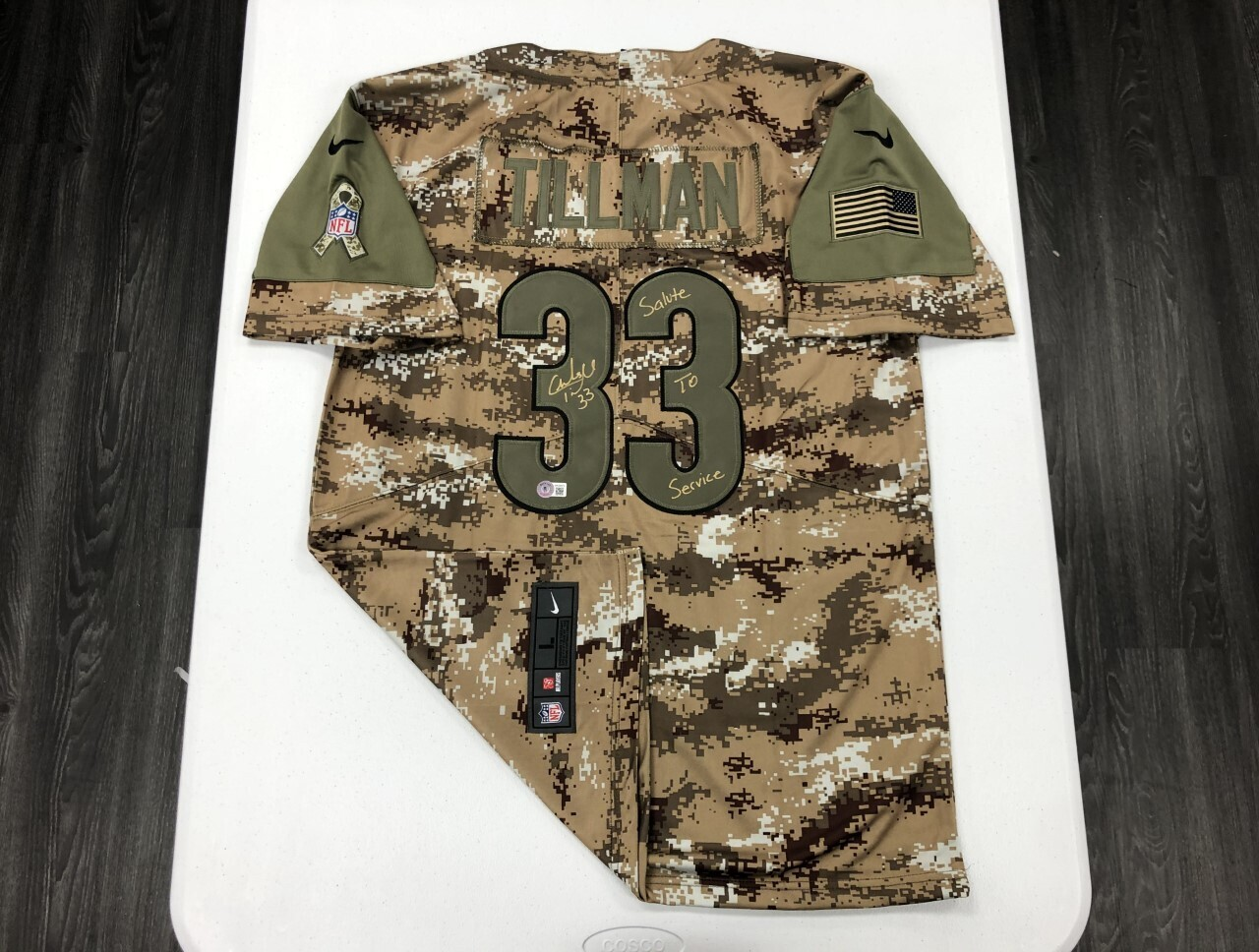 Charles Tillman Signed Camo Salute to Service Jersey (Gold Ink)