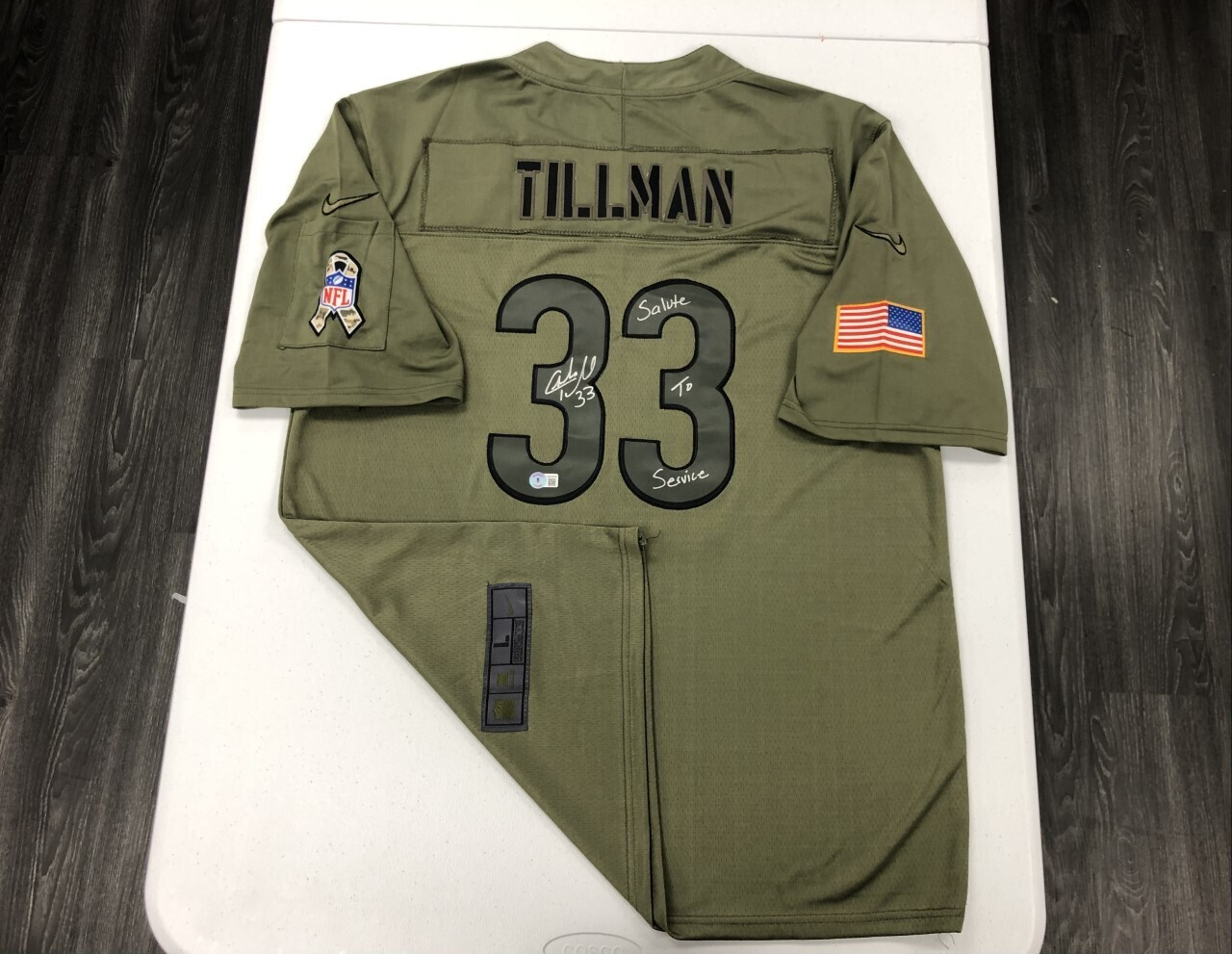 Charles Tillman Signed Salute to Service Jersey (Silver Ink)