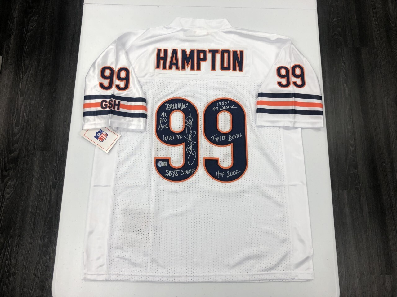 Dan Hampton Signed White Jersey