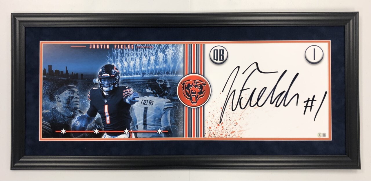 Justin Fields Signed + FRAMED Panoramic Photo (City Edition)