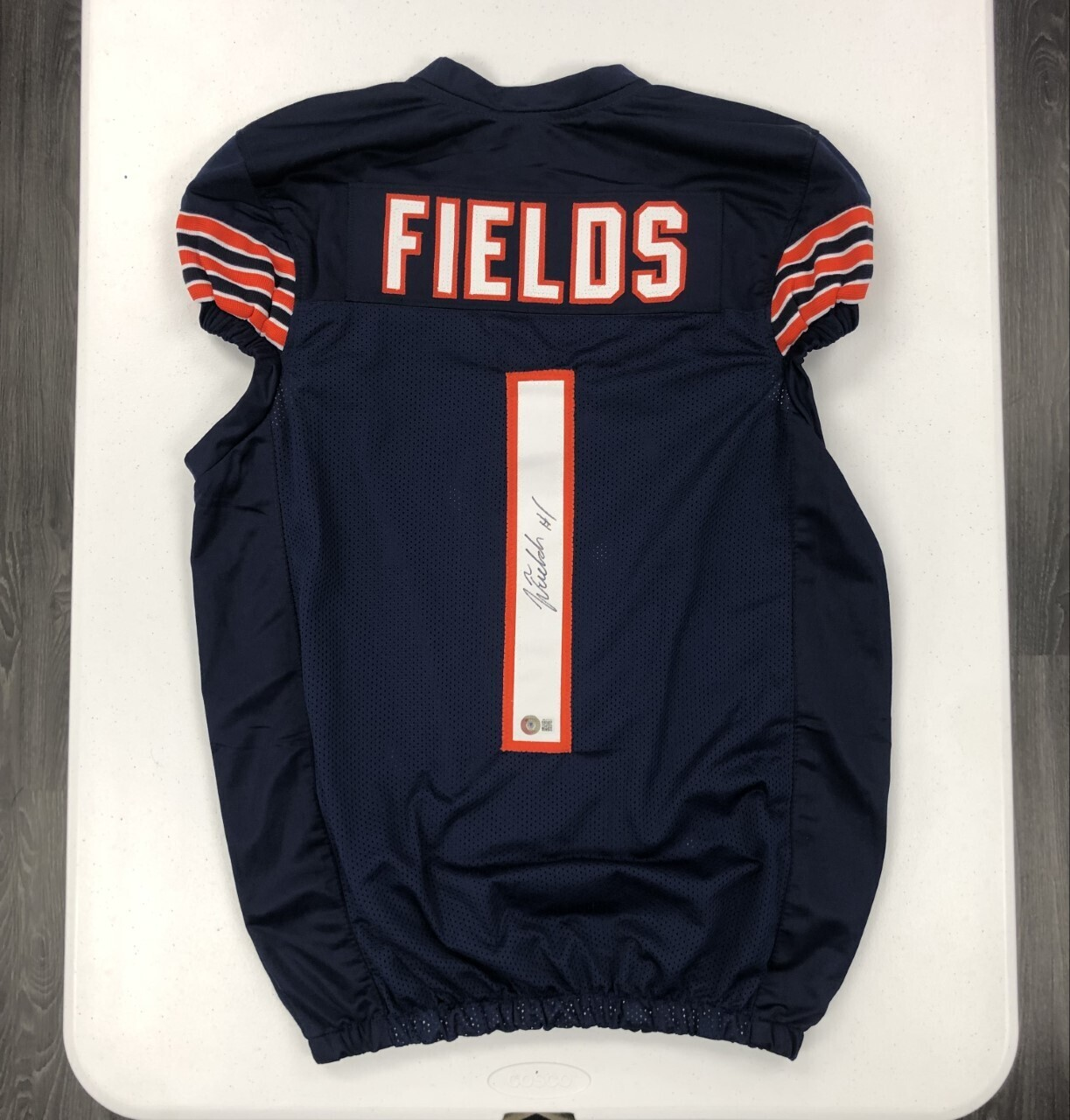 Justin Fields Signed Pro-Cut Style Jersey (Navy)