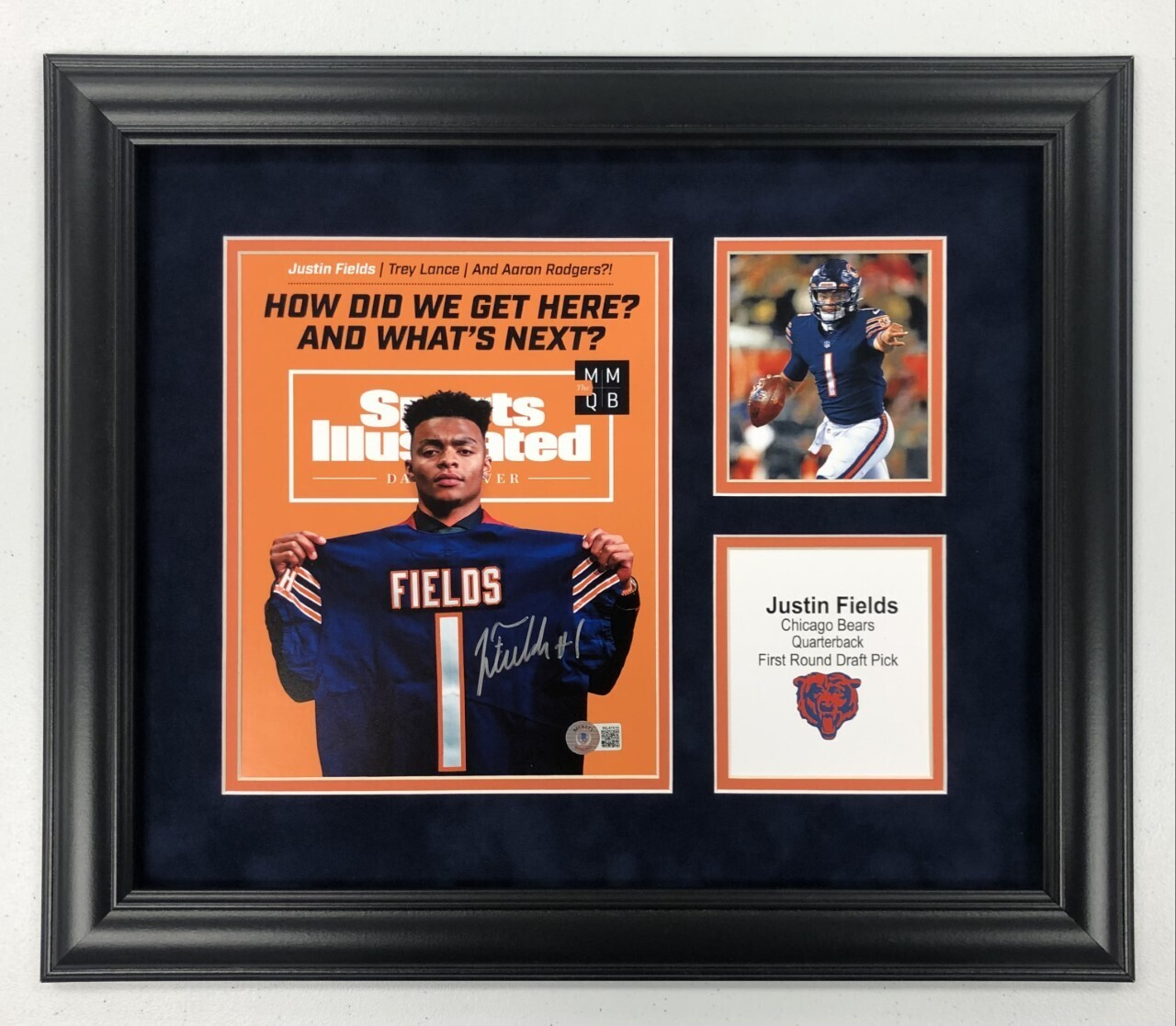 Justin Fields Signed + FRAMED 8x10 Photo Display (Legends Style)