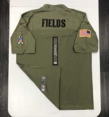 Justin Fields Signed Salute to Service Jersey (Silver Ink)