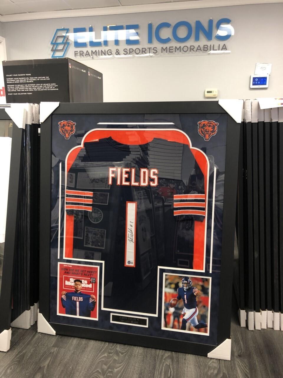 Justin Fields Signed + FRAMED Navy Bears Jersey