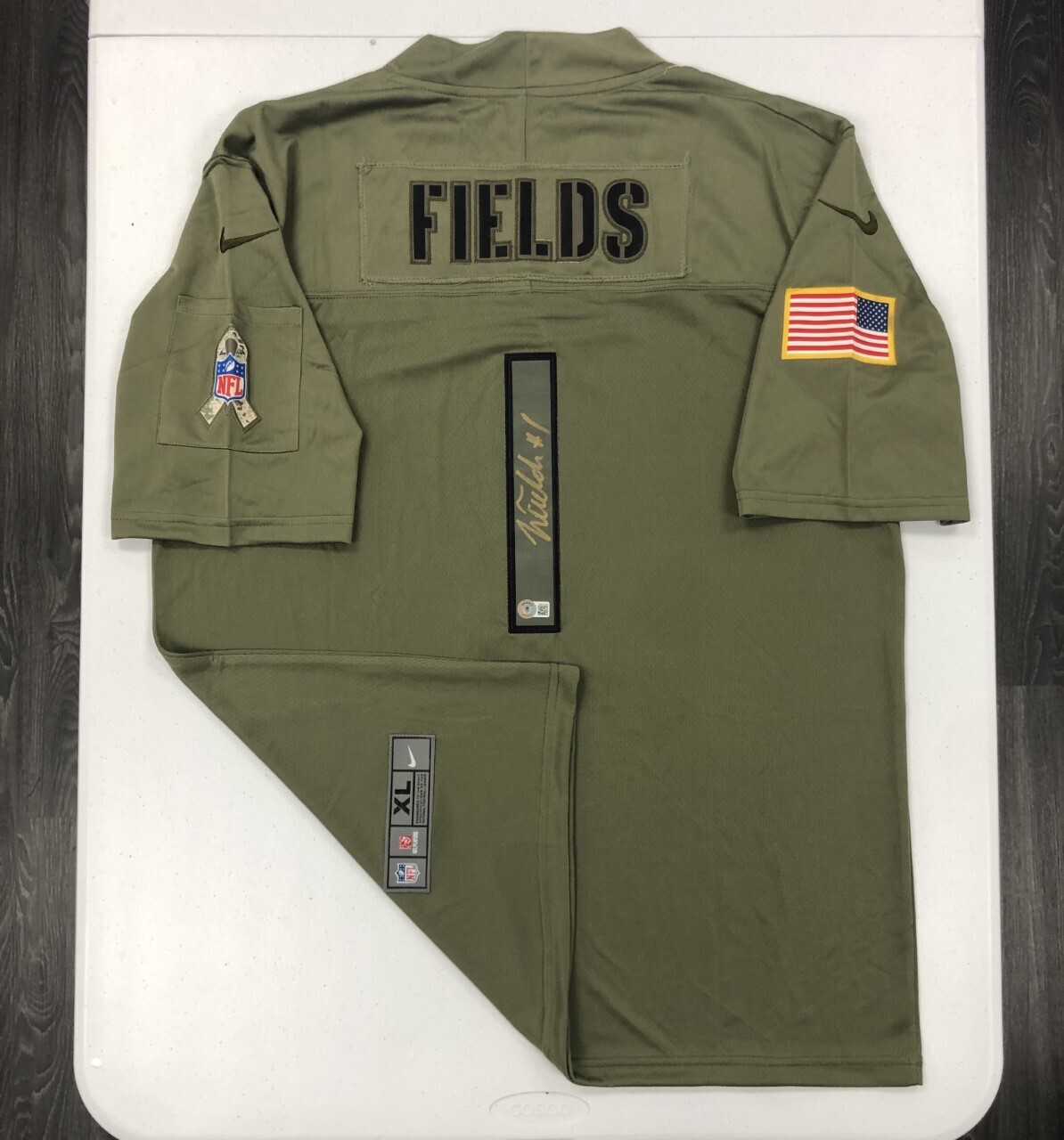 Justin Fields signed Salute to Service jersey (Gold Ink)