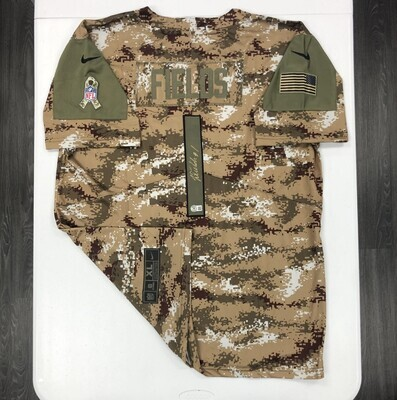 Justin Fields signed Camo Salute to Service jersey (Gold Ink)