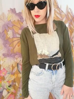Tee-shirt manche longue kaki et doré Zara S/M