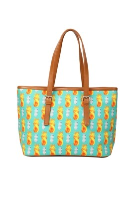 Mint large tote bag with Pineapple Print