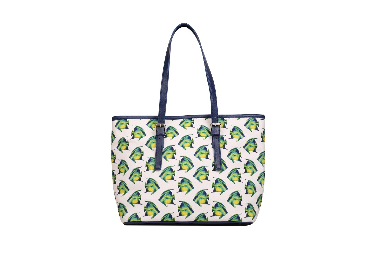 White large tote bag with Fish Print