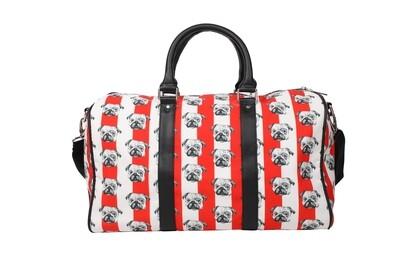 Striped Duffel Bag with Pug Print