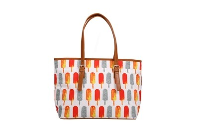White large tote bag with Popsicle Print