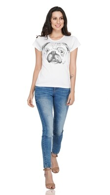 White T-shirt with Pug Chest Print