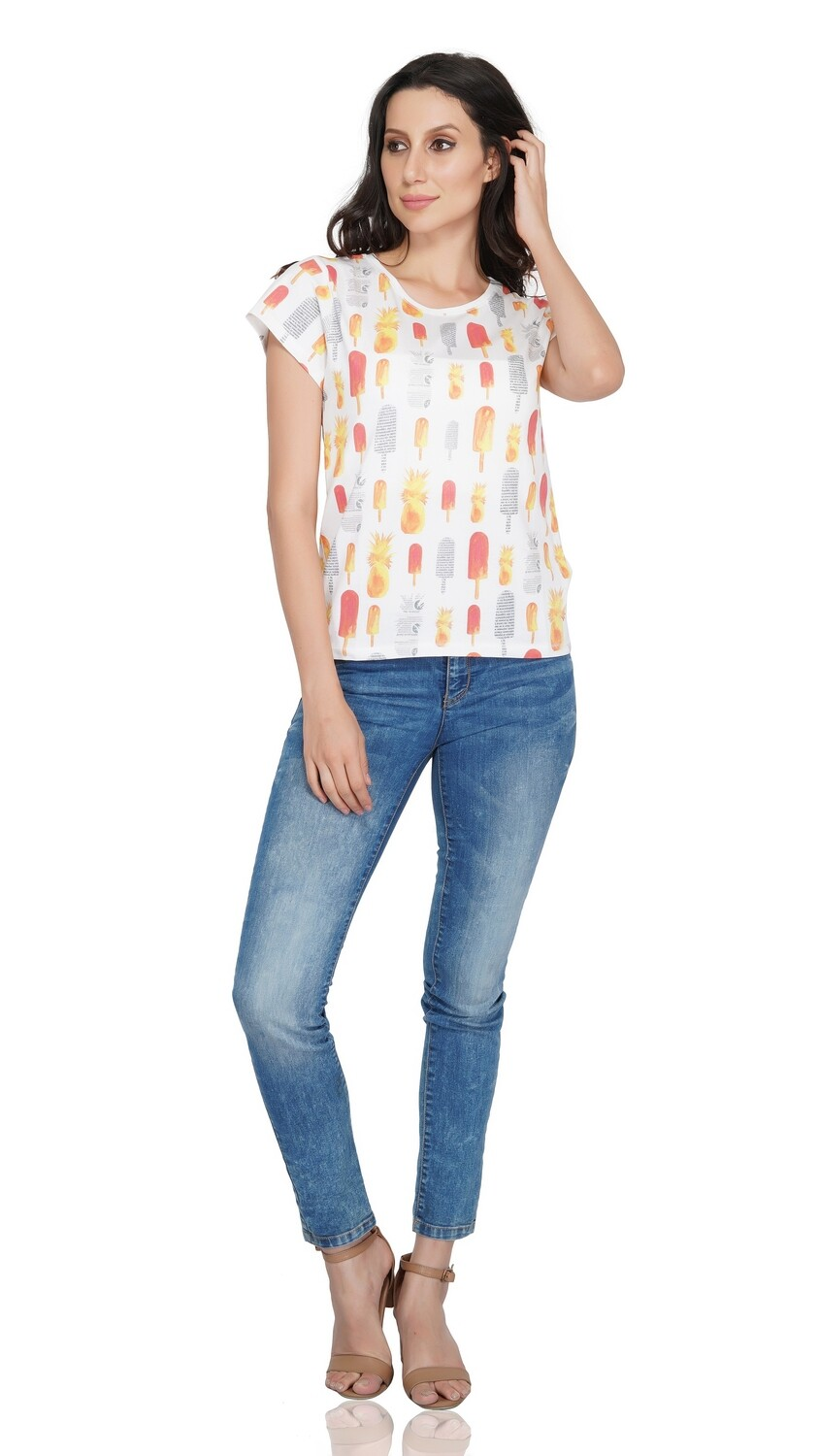 White Popsicle and Pineapple Print T-Shirt