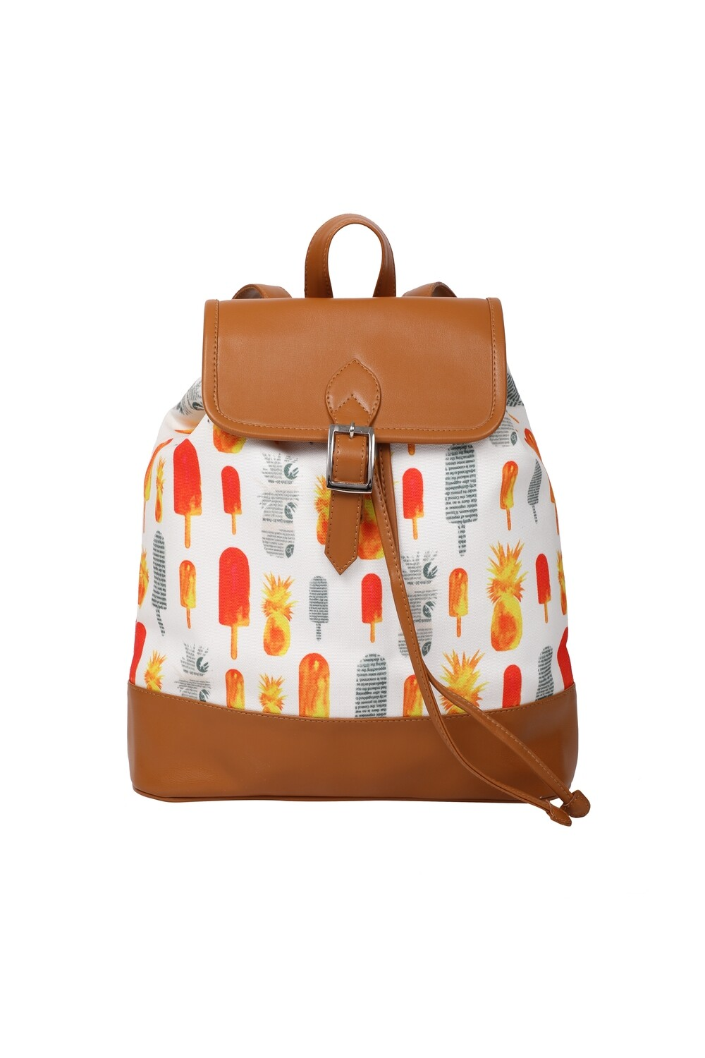 White backpack with Popsicle & Pineapple Print