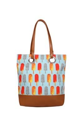 Sky Blue medium tote bag with Popsicle illustration