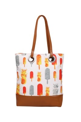 White medium tote bag with Pineapple & Popsicle illustration