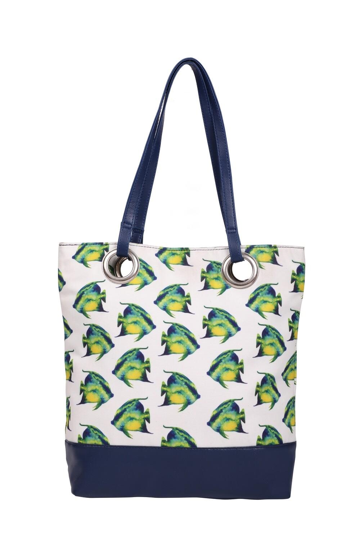 White medium tote bag with fish illustration
