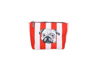 Striped Boat Shaped Pouch with Pug Print