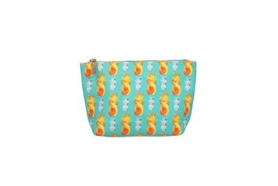 Mint Boat Shaped Pouch with Pineapple Print