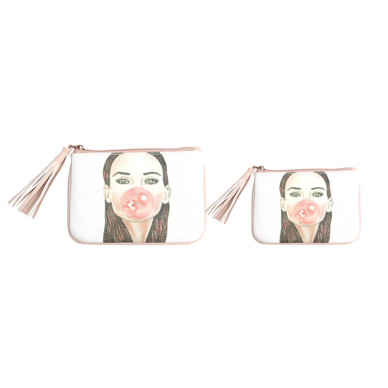 Set of 2-Bubble Gum Girl illustration pouch set