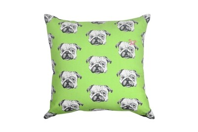 Green Cushion with pug print and button