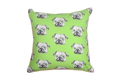 Green Cushion with pug print and edge piping
