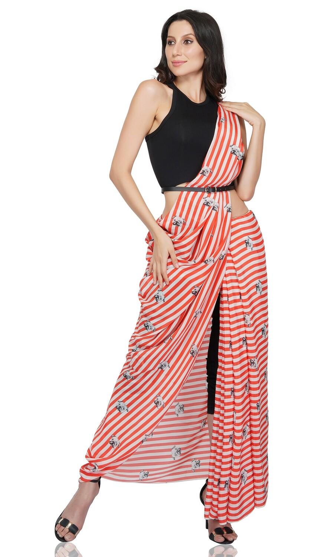 Striped Pug Print Saree
