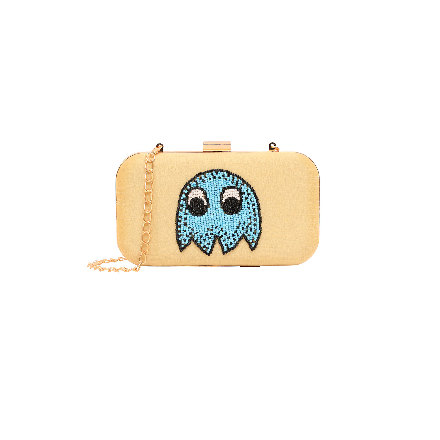 Monster Embroidered Box Clutch