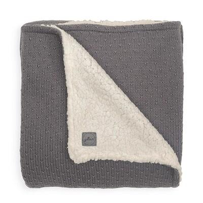 Deken teddy 100x150cm Bliss knit Storm Grey