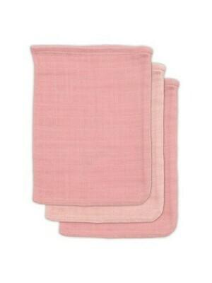 3 hydrofiele washandjes Bamboo Cotton- Pale Pink