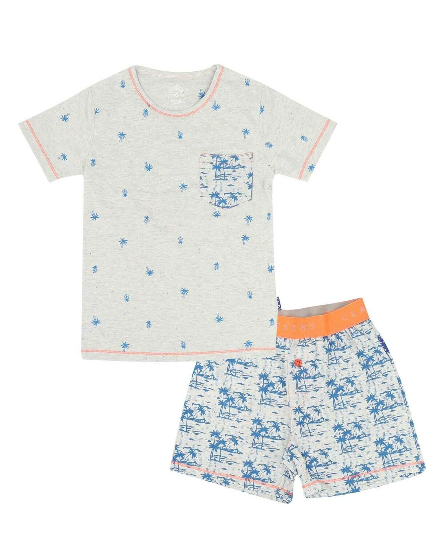 Boys Pyjama Set Palmtree Blauw/Grijs
