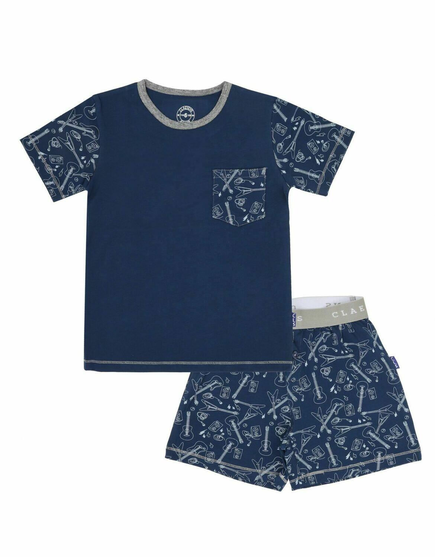 Boys Pyjama Set Gitaar Blauw