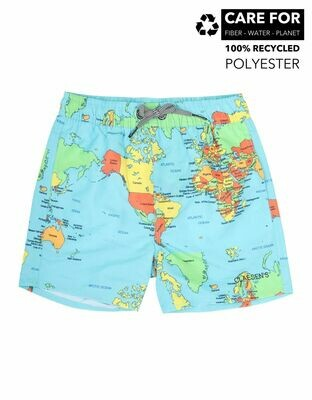 Boys Loose fit Swimshort - World Map