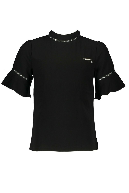 Elle Chic T-Shirt Black Ruffle