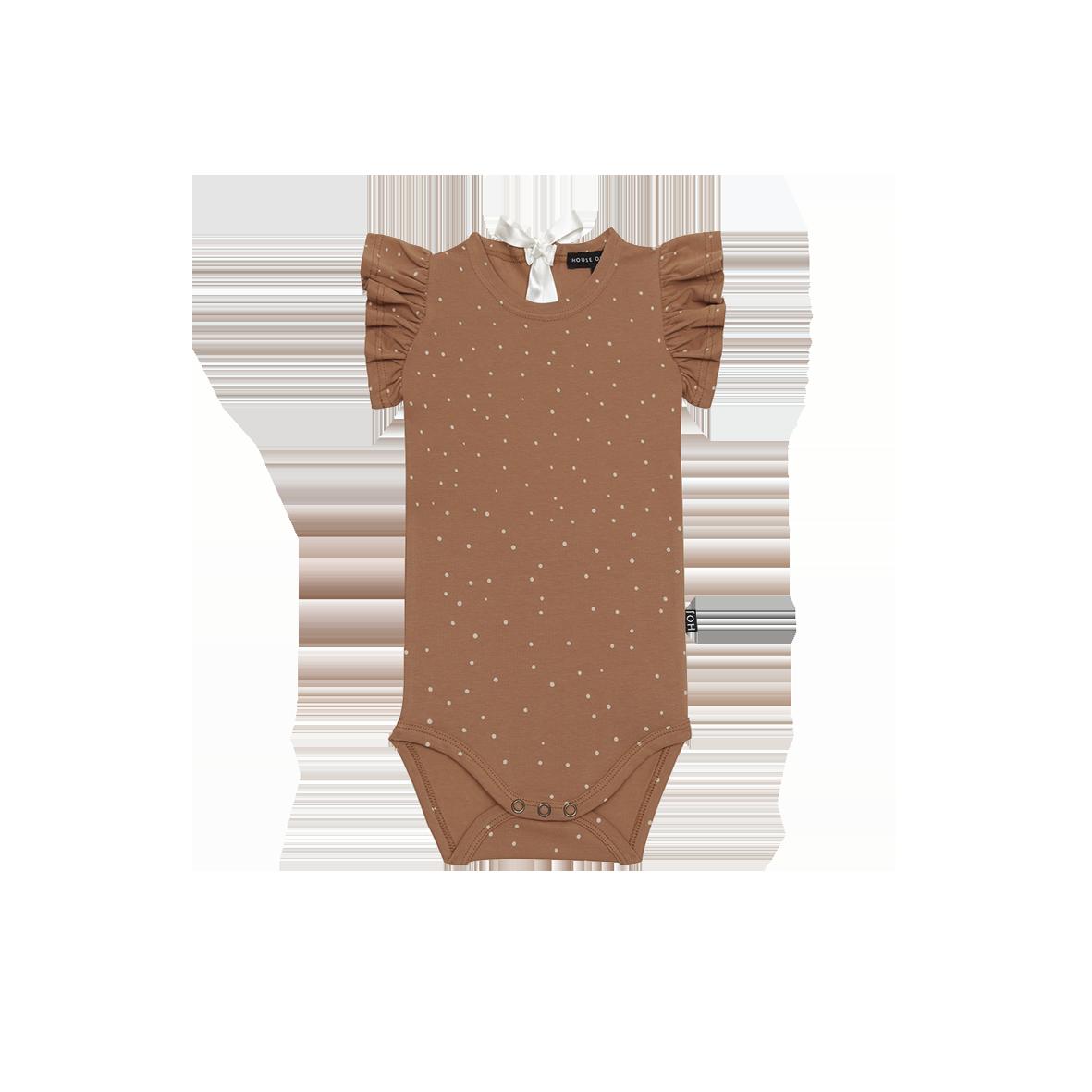 HOJ Ruffled bodysuit Burnt ginger dots