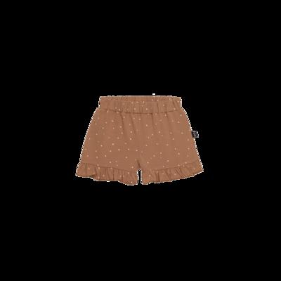 Ruffled Shorts Burnt Ginger Dots