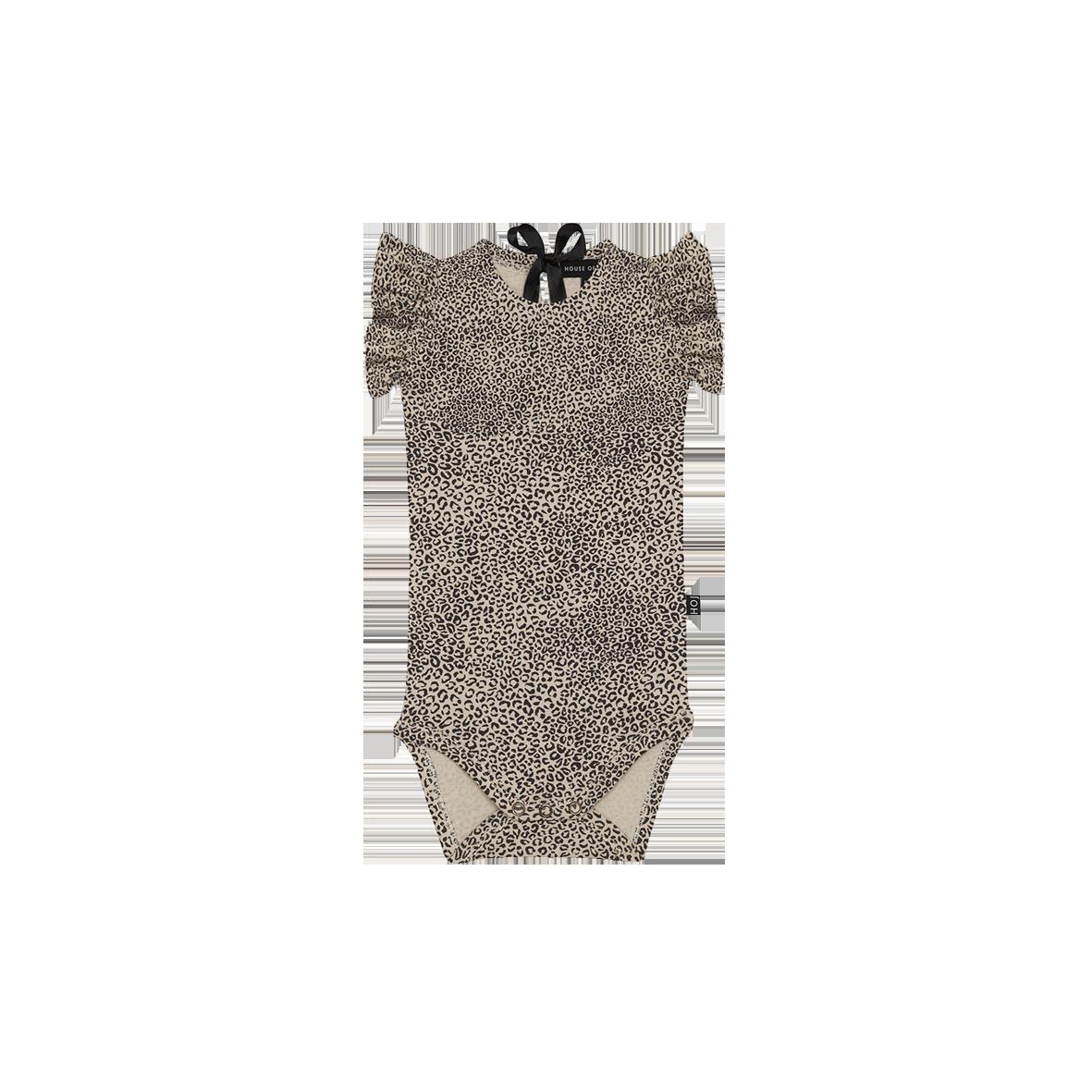 Ruffled Bodysuit Charcoal Little Leopard