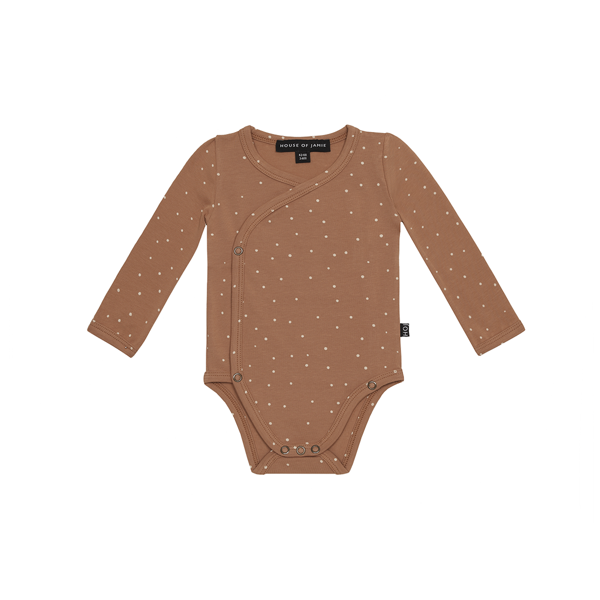 Wrap butoon bodysuit Burnt ginger dots