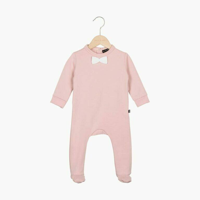 Bow Tie Babysuit Powder Pink