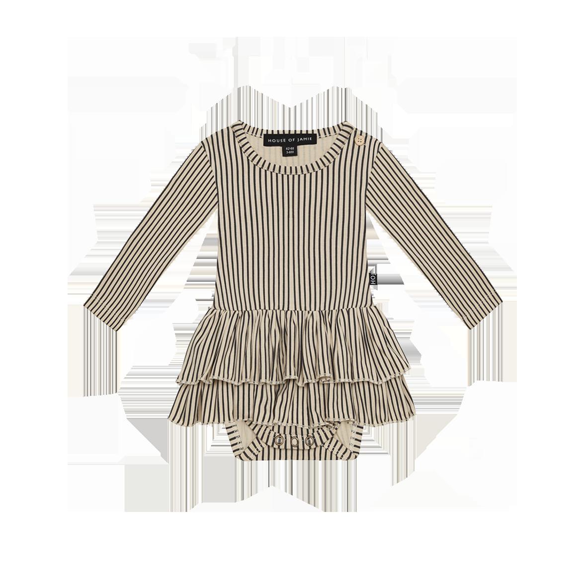 Ruffled Bodysuit Dress Charcoal Sheer Stripes