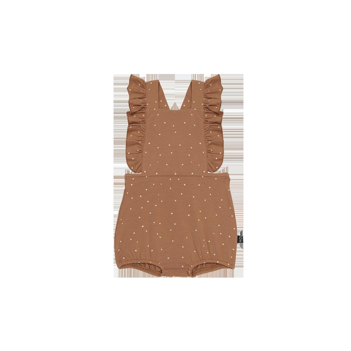 Ruffled Baby Salopette Burnt ginger Dots