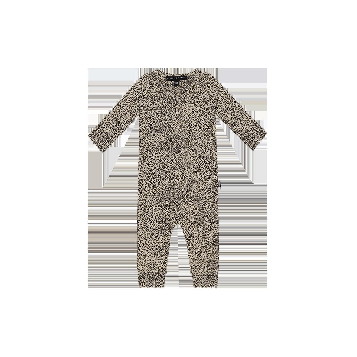 Rib Button Jumpsuit Charcoal Little Leopard