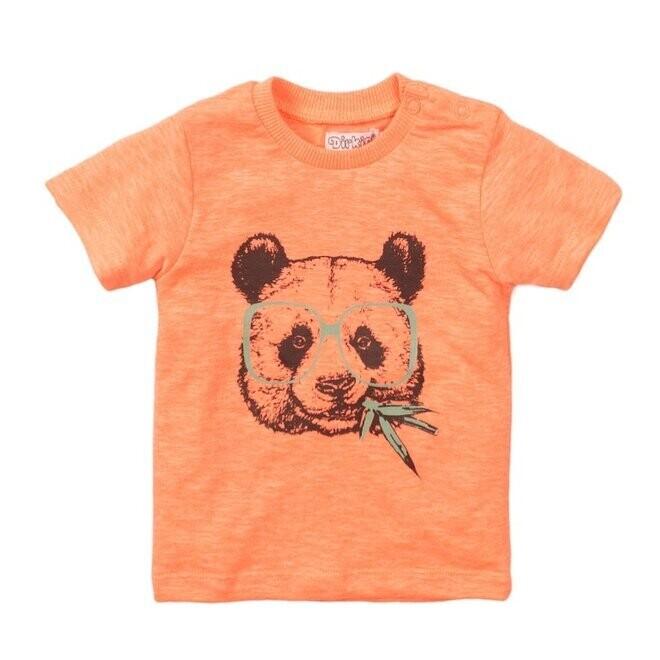 Dirkje T-shirt Neon Coral Panda