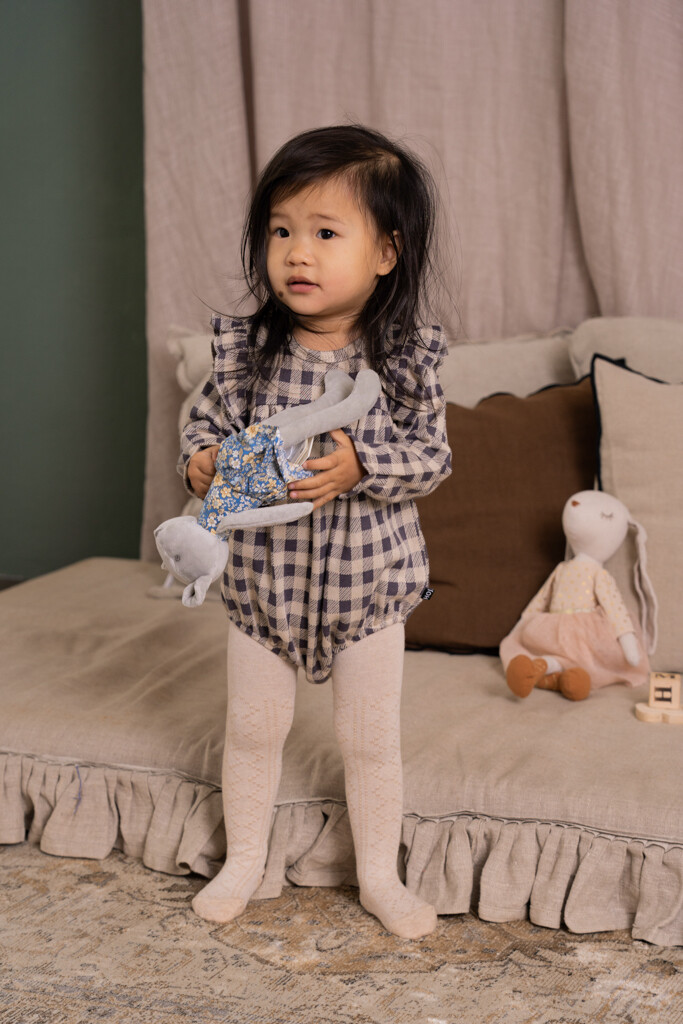 Girls Rompersuit Charcoal Vichy