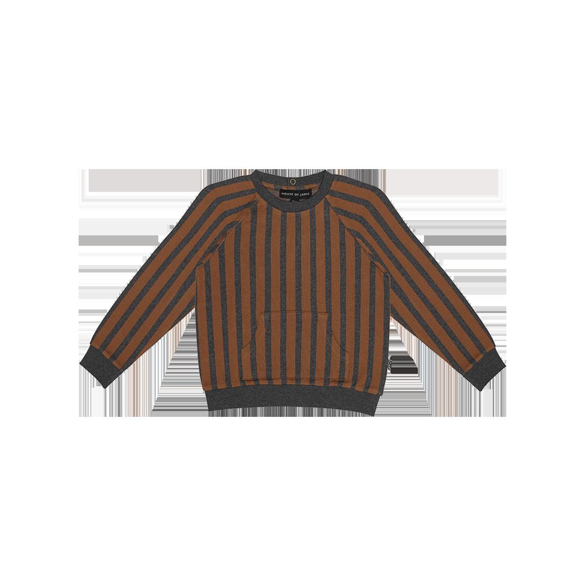 Raglan Sweater ginger bread and granite stripes